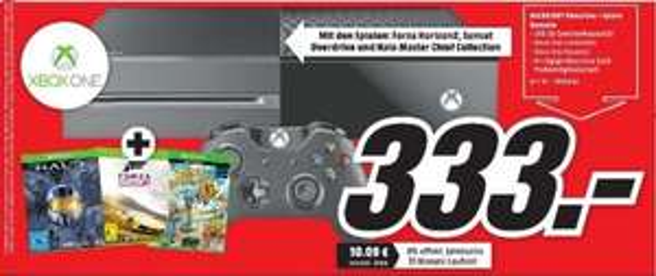Media Markt München Xbox One incl. Halo Master (Disk)+ Forza Horizon 2 (Disk)+ Sunset Overdrive (Disk) für 333 €