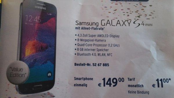 Galaxy s4 Mini für 149,- bei Tchibo.