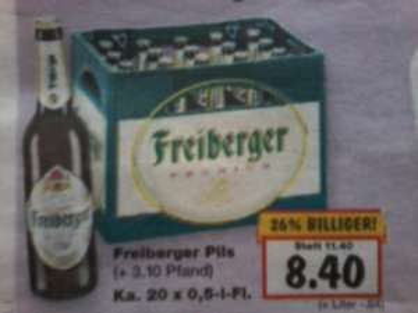 Freiberger Pils 20x 0,5l plus Pfand für 8,40€ im Kaufland