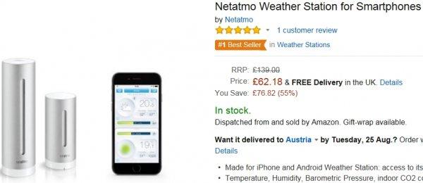 Netatmo NWS01-EU Wetterstation für IOS und Android für 91,48€ (Amazon.uk)