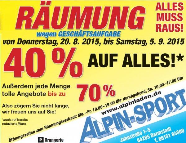 [Darmstadt] 40% auf alles durch TOTALRÄUMUNG beim Alpin Laden