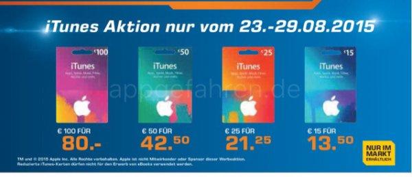 Reduzierte iTunes Karten