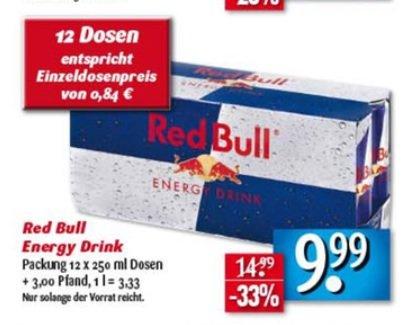 E Center Nordbayern: Red Bull 12x 250ml für 9,99 (Dose 0,84€)