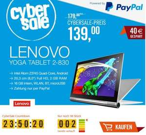 (CYBER SALE) Lenovo Yoga Tablet 2-8 20,32 cm (8 Zoll FHD-IPS) Tablet (Intel Atom Z3745, 1,86GHz, 2GB RAM, 16GB interner Speicher, Touchscreen, Android 4.4) --> -29%