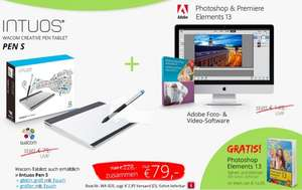 Adobe Photoshop & Premiere Elements 13 + Wacom Intuos Pen S + Buch für 79,- (EDV-Buchversand) --> Idealo: 149,69€ (Adobe 74,95 + Wacom 59,79 + Buch 14,95)
