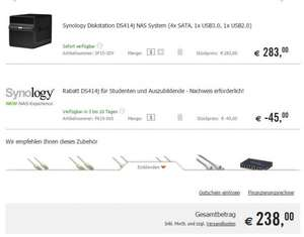 [Studenten und Auszubildende] Synology Diskstation z.B. DS414j für 238€