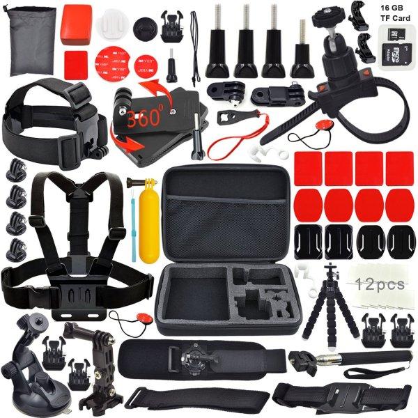 @Amazon Erligpowht GoPro Zubehör Outdoor-Sportarten Bundle Kit für GoPro Hero 4/3 + / 3 / 2/1 Kameras und sj4000 / sj5000 Kameras
