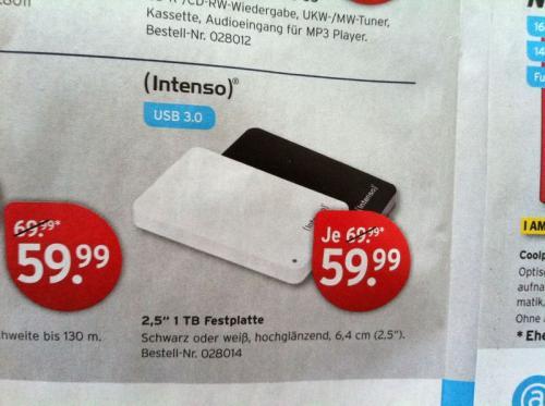 "Intenso externe Festplatte, 1TB, 2,5"" - USB 3.0 bei Karstadt Offline (Online wohl schon ausverkauft)Bundesweit 59,99€"