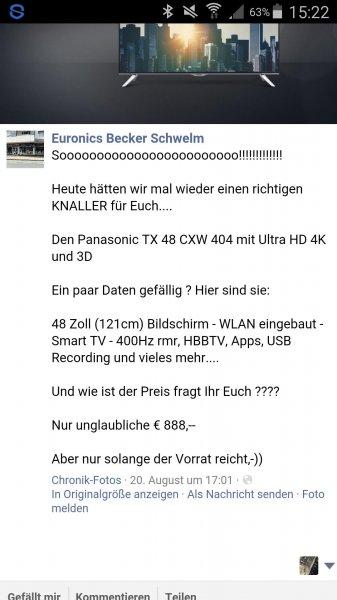 [LOKAL] [EURONICS Becker - Schwelm] Panasonic TX 48 CXW 404