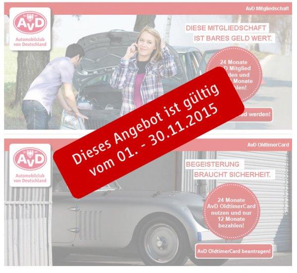 AvD - 2 Jahre Mitgliedschaft - 1 Jahr bezahlen - zum vormerken
