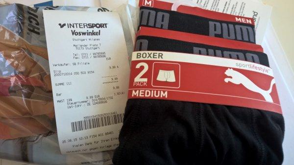 [Lokal Stuttgart] PUMA 2erPack Boxershorts/Hipster, Herren/Damen, für 9,99€ statt 14,99€ @INTERSPORT-Milaneo