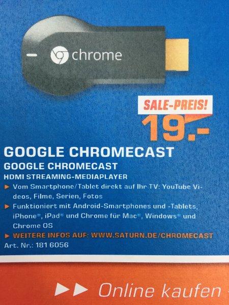 (Saturn Bundesweit & Online) Google Chromecast für 19 Euro oder 2 Stück für 33 Euro bei Nutzung des 5€ Newslettergutscheins