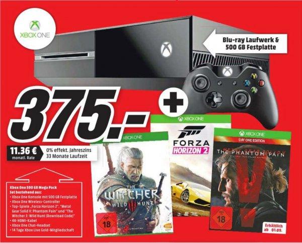 [Mediamarkt Bundesweit] XBoxOne 500GB + The Witcher 3 (DL Code) + Metal Gear Solid 5: The Phantom Pain+Forza Horizon 2 für 375,-€