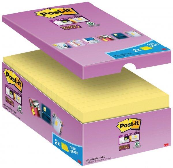 [Amazon] Post-it Super Sticky Notes, 127 x 76 mm, 16 Blöcke, 90 Blatt, gelb | -48% Rabatt | 13,79€