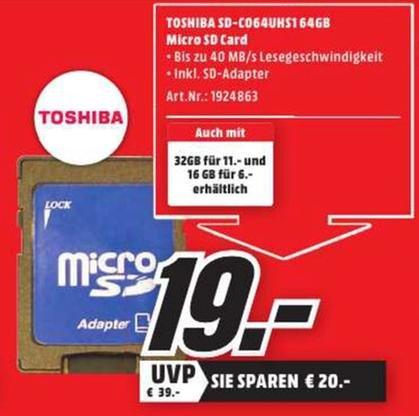 [Lokal Rostock Media Markt] Toshiba microSDXC 64 GB Class 10 (SD-C064UHS1) inkl. SD-Adapter für 19 €
