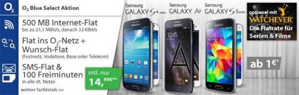 Samsung Galaxy S6 & Tab 4 mit 80 € Ersparnis + o2 Blue Select (o2-Flat, Zweitflat, 100 min, SMS-Flat, 500 MB)