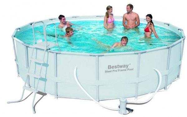 """Bestway 56266 Frame Pool """"Power Steel"""" Set mit Filterpumpe + Zubehör 488 x 122cm @Amazon.de"""