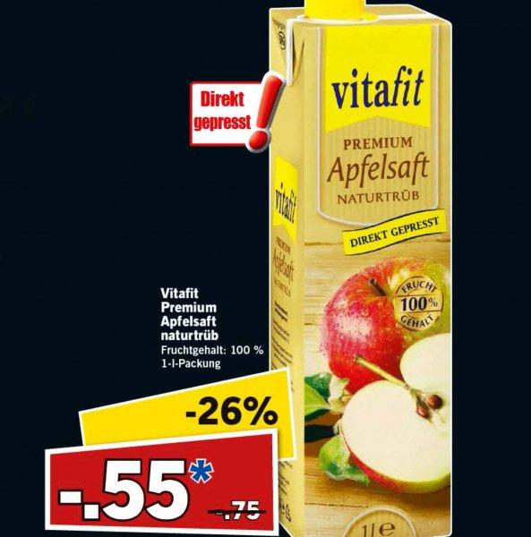 Apfel-Direktsaft von Vitafit 1 Liter 26% günstiger für nur 55 Cent am heutigen Samstag bei [Lidl]