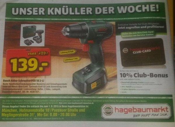 [lokal München] Bosch Akkuschrauber PSR 18 LI-2, 2 Akkus (1,5 Ah) und Koffer @ hagebaumarkt