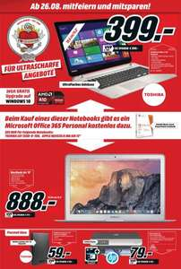 "Toshiba S50D-B-100 15,6"" Notebook + M. Office 365 Personal, (Lokal Hamburg, Media Markt) 399€"