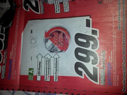 Waschmaschine - A+++ - 7kg - 1400U/min - 299€ (MediaMarkt)