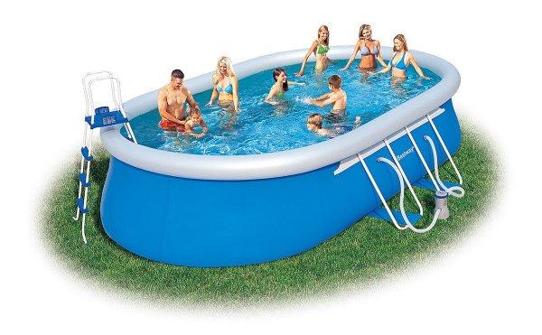 Bestway 56153 Oval Fast Set Pool Set mit Filterpumpe + Zubehör 549x366x122cm