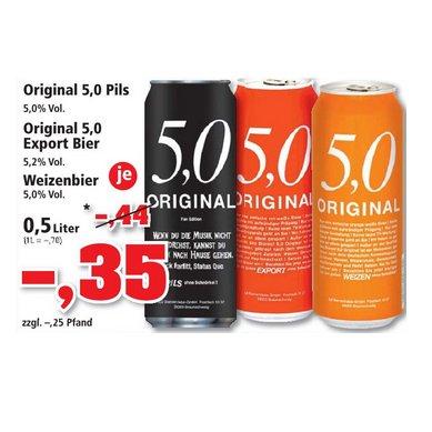 [THOMAS PHILIPPS] Original 5,0 Pils / Export / Weizenbier Dosen 0,5l für 0,35€