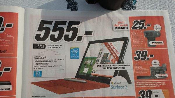 [Media markt Stuttgart + Umgebung] surface 3 + Tastatur