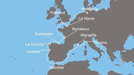 14 Tage Kreuzfahrt auf der Coste neoRomantica in Westeurop für 599 € pro Person