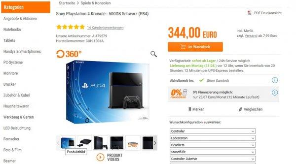 Sony Playstation 4 Konsole - 500GB Schwarz (PS4) - online - 301.99€ - inkl. Versand [Notebooksbilliger]  - Keine Finanzierung ! -
