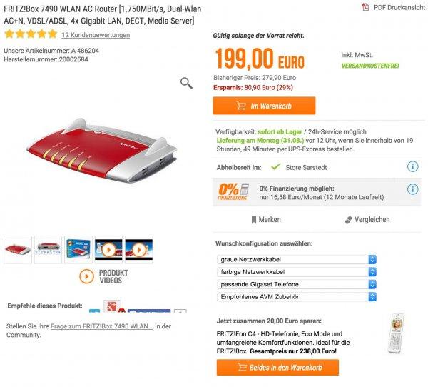 AVM Fritz!Box 7490 + Fritz!Fon C4 für 223 EUR @Notebooksbilliger
