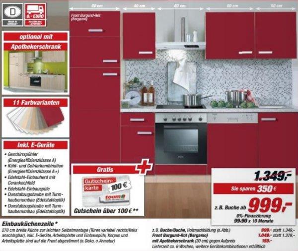 Toom EBK mit Geschirrspüler + kostenlose Lieferung +100 EUR Gutschein