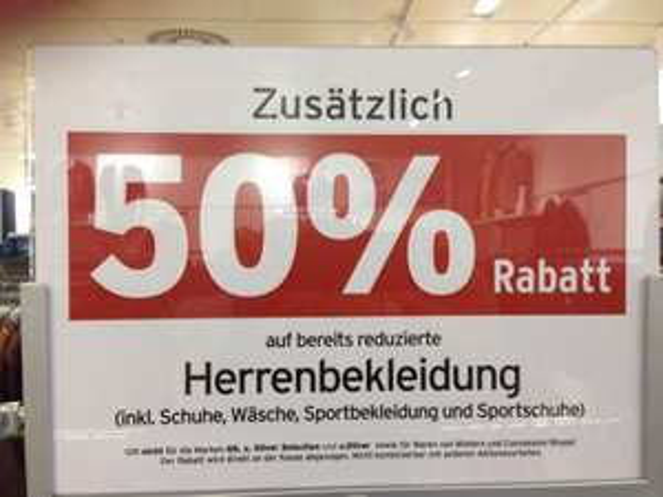 Karstadt: 50 % auf reduzierte Herrenbekleidung, z.B. Hemden von Olymp und Eterna für 19,90
