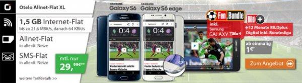 Otelo Allnet-Flat XL mit 1,5 GB Internet ab eff. 2,49 € mtl. (Telefonflat, SMS-Flat, 1,5 GB) Samsung Galaxy S6 & Tab 4