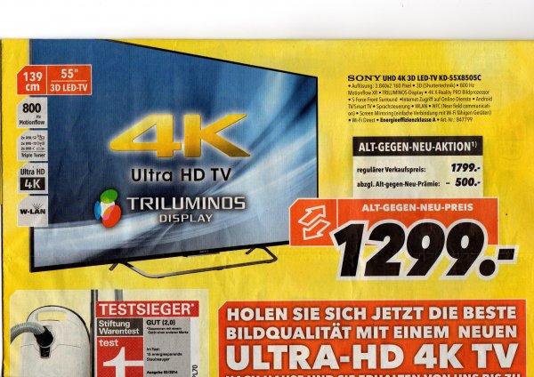 Medimax Detmold:Sony 55X8505C UHD 4K 3D 1799€ - 500€ Altgerätprämie = 1299€,Idealo 1685€