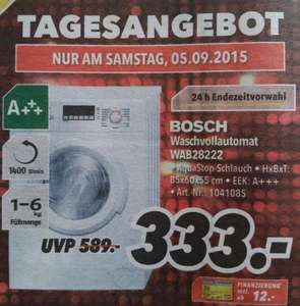Waschvollautomat Bosch 333€ nur am 5.9.15 MediMax