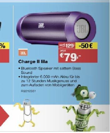 "[STAPLES Filialen] JBL Charge II Bluetooth Lautsprecher ""lila"" für 79€"