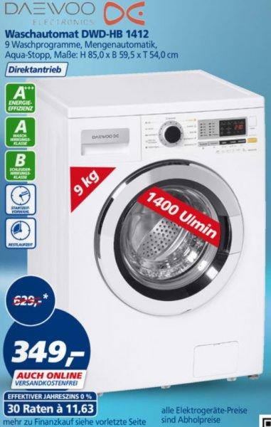 [real auch online] Daewoo DWD-HB 1412 Waschmaschine 349 € (VSK-frei); 9KG, 1400 U/min
