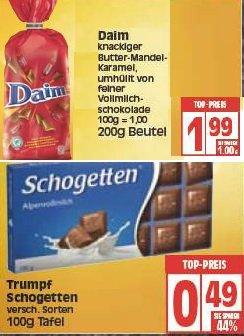 [EDEKA + E Reichelt Berlin] Trumpf Schogetten 100g Tafel (0,49 €), Daim 200g (1,99€)