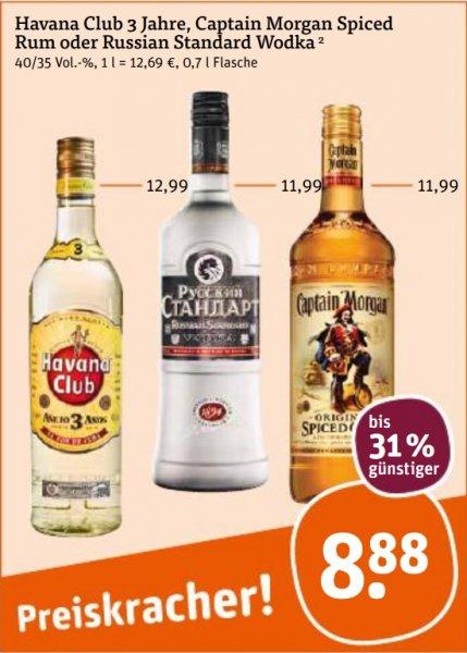 """[tegut, """"bundesweit""""] Russian Standard, Havana, Captain Morgan - 8,88€"""