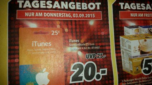 [iTunes] 25€ Karte für 20€ nur am 03.09. im MediMax!