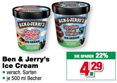 [Handelshof] Ben & Jerry's Eis 500ml für 4,13€ - nur heute