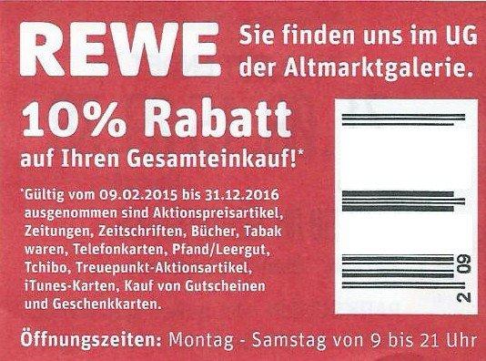 10% REWE Gutschein bis 31. 12. 2016 für Dresden-Altmarktgalerie für 25 Cent kaufen