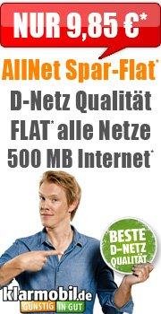 [HANDYBUDE] Klarmobil im Telekom-Netz: Allnet Flat | 500 MB bei 7,2 Mbit/s UMTS | SMS 9 Cent | 25 € Bonus bei Rufnummernmitnahme für 9,85 € direkt auf der Rechnung