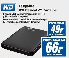 (lokal) Expert - WD Elements 1.5 TB USB 3.0 portable FP für 66,- Euro