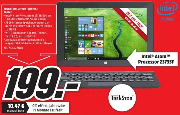 [Lokal MediaMarkt Heidelberg bis 01.09.] Trekstor TwinTab 10,1 Zoll 32GB WiFi mit Windows 10 - schwarz mit Tastatur