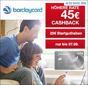 [Qipu] : Barclaycard New Visa mit 45€ Cashback + 25€ Startguthaben