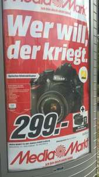 [lokal MM Freiburg] Nikon D3200 Kit + 18-55 VR II + Tasche + 16 GB Speicherkarte für 299€