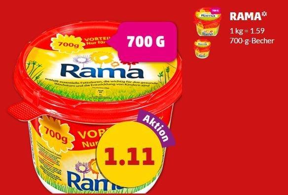 [PENNY] Rama 700g-Becher für nur 1,11 € (500g = 0,80 €), gültig bis 05.09.2015