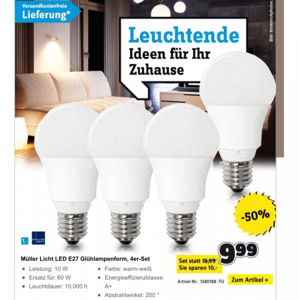 [Conrad] Müller Licht 4er-Pack E27 LED 10W (810 Lumen) VSK-frei